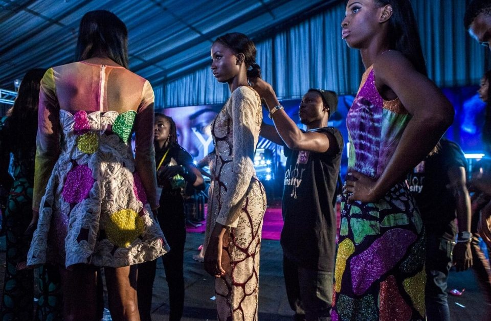 Models wearing Lanre Da Silva Ajayi backstage during Lagos Fashion and Design Week 2014. By Andrew Esiebo for Al Jazeera America