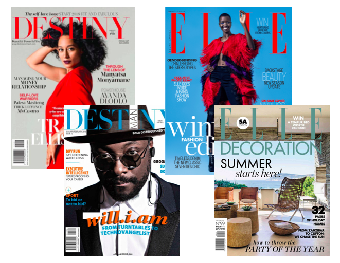 Ndalo Media's print publication portfolio | Destiny, Destiny Man, Elle SA, Elle Decoration SA