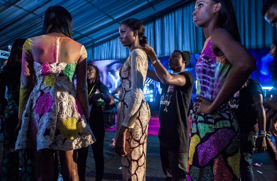 Models wearing Lanre Da Silva Ajayi backstage during Lagos Fashion and Design Week 2014. By Andrew Esiebo for Al Jazeera America